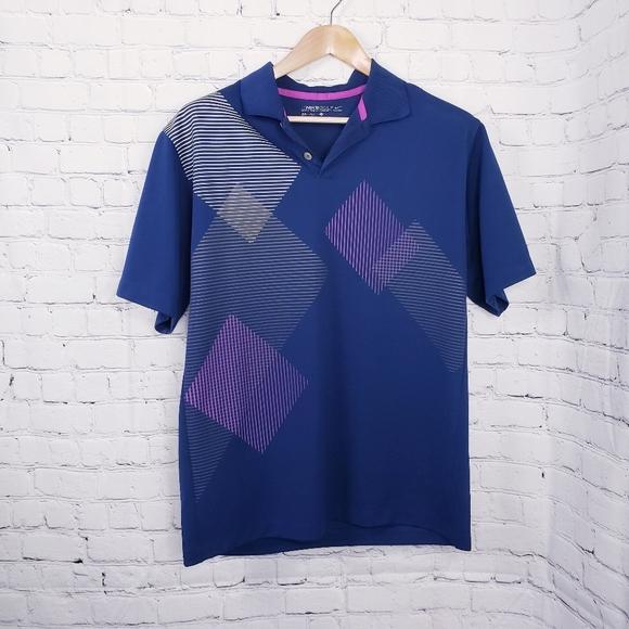 Nike Golf Mens Polo Shirt Navy Graphic Preppy Y2K
